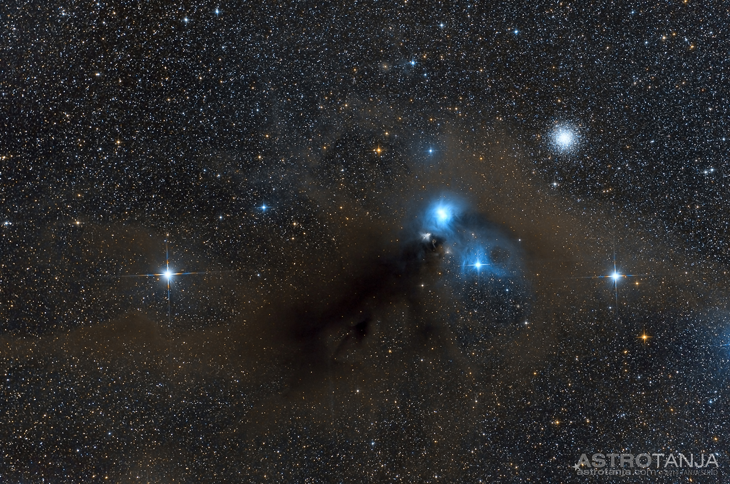 Reflection Nebula In Corona Australis With NGC6723 And Friends